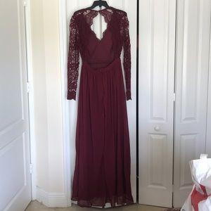 Beautiful Garnet Lace Open Back Dress